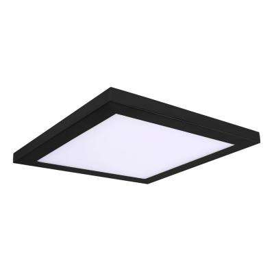 Square Slim Disk Length 10 in. Black New Construction Recessed Integrated LED Trim Kit Square Fixture 3000K Warm White