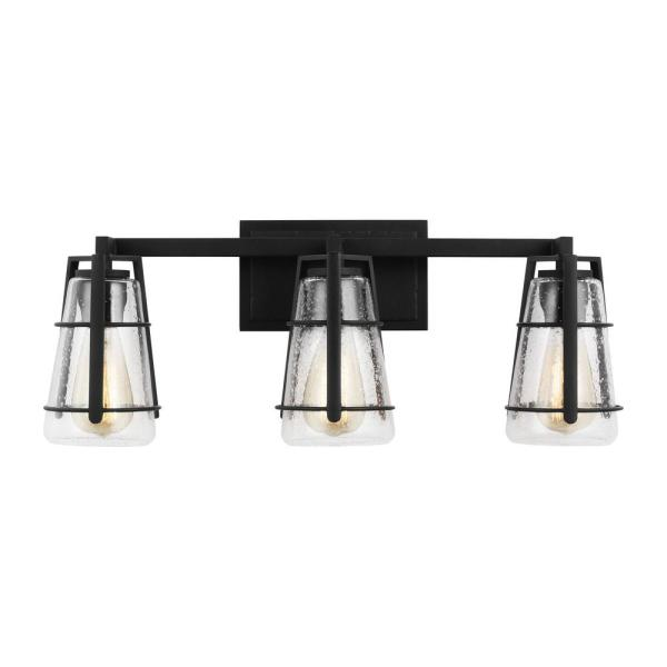 Adelaide 24 in. W. 3-Light Midnight Black Vanity Light with Clear Seeded Glass Shades