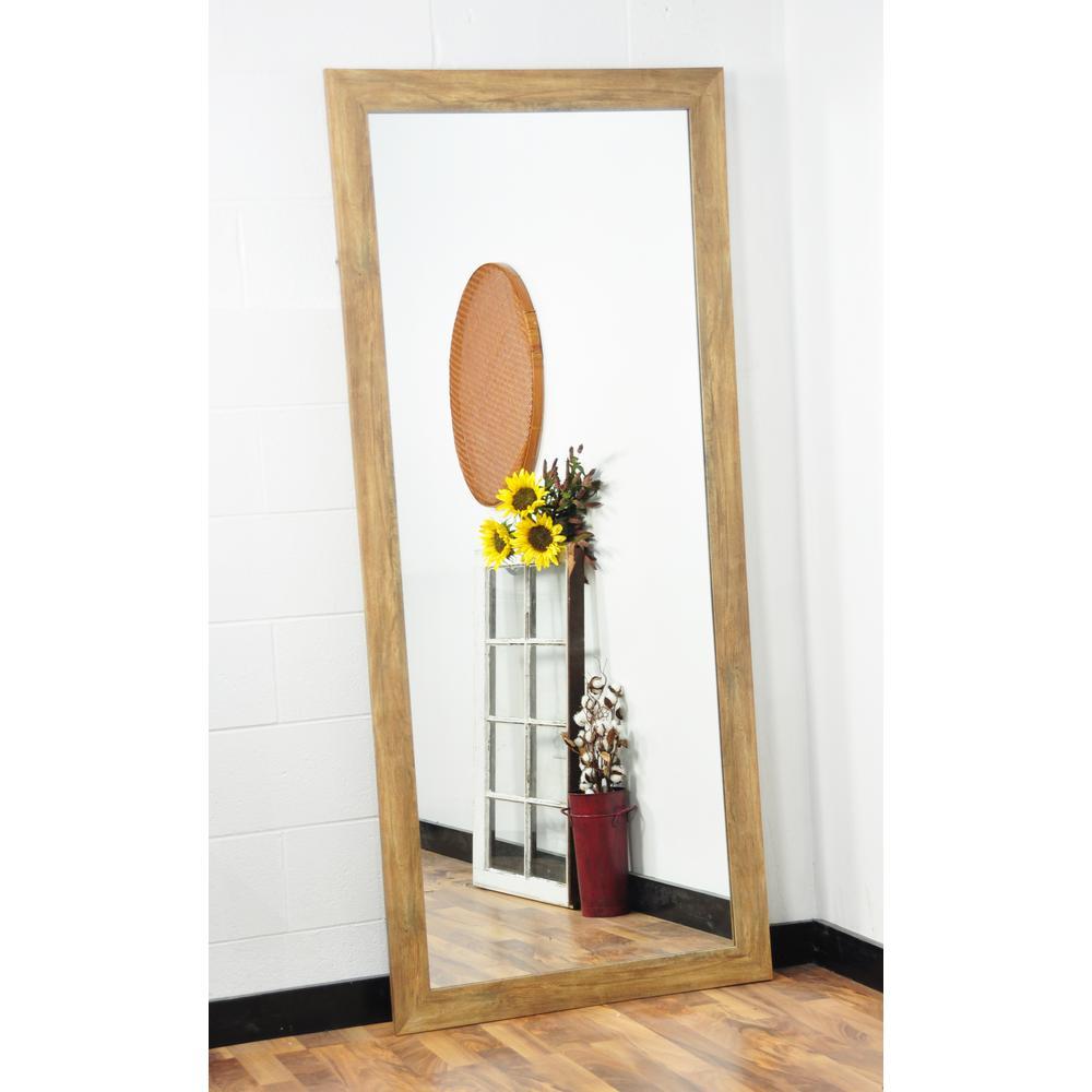 Traditional Rectangle Blonde Barnwood Floor Mirror