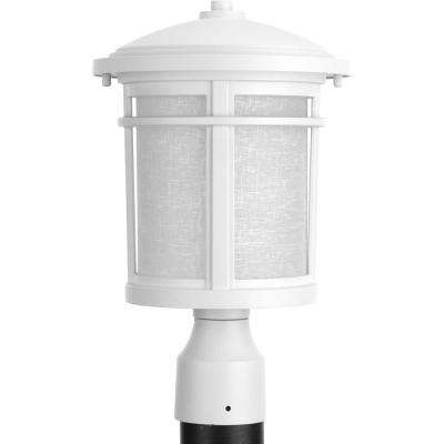 Wish Collection 1-Light Textured White LED Outdoor Post Lantern