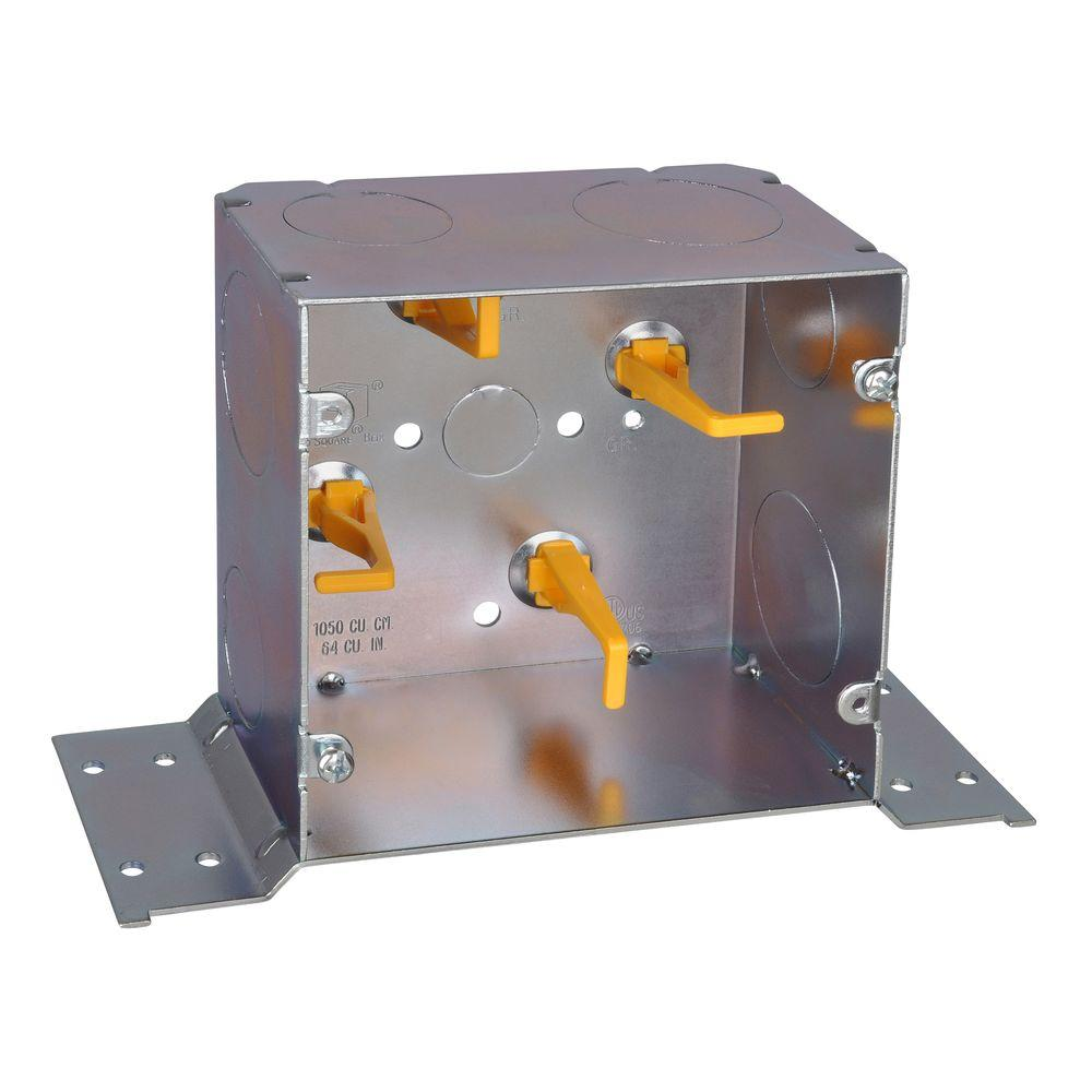 Steel City 2-Gang 5 in. New Work Metal Square Electrical Box with Cable Management Posts CV Bracket and Knockouts (20 per Case)