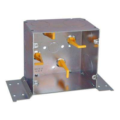 2-Gang 5 in. New Work Metal Square Electrical Box with Cable Management Posts CV Bracket and Knockouts (20 per Case)