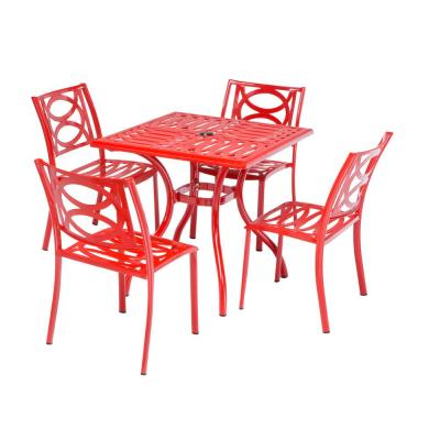 5-Piece Aluminum Outdoor Bistro Set with 4 Stackable Cafe Chairs in Candy Red Finish