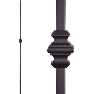 Versatile 44 in. x 0.5 in. Satin Black Single Knuckle Hollow Wrought Iron Baluster