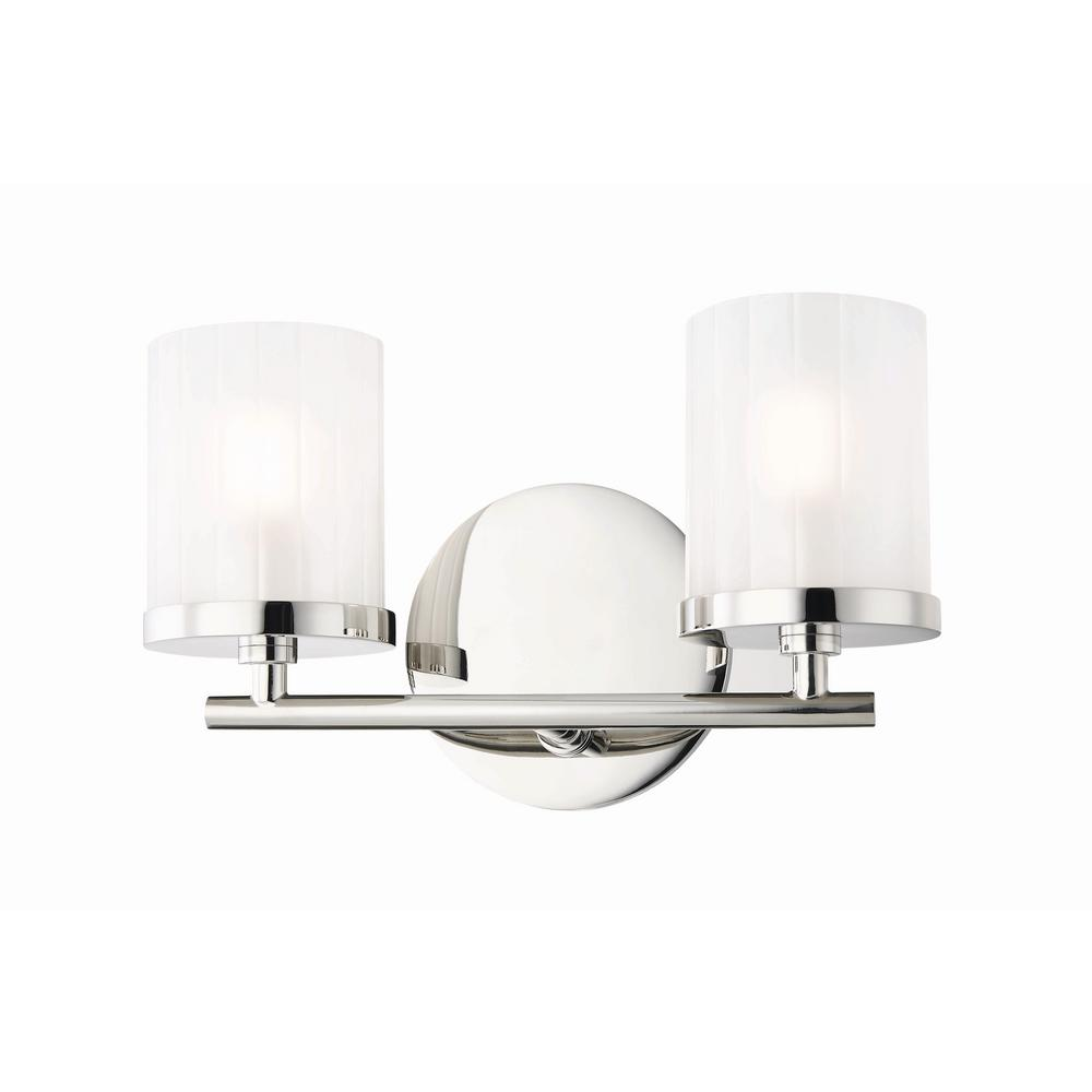 Mitzi by Hudson Valley Lighting Ryan 2-Light Polished Nickel Bath Light with Clear Frosted  sc 1 st  Home Depot & Mitzi by Hudson Valley Lighting Ryan 2-Light Polished Nickel Bath ...
