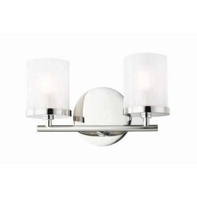 Ryan 2-Light Polished Nickel Bath Light with Clear Frosted Glass Shade