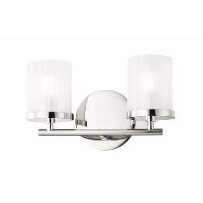 Mitzi By Hudson Valley Lighting Ryan 2 Light Polished Nickel Bath Light With Clear Frosted Glass Shade H239302 Pn The Home Depot