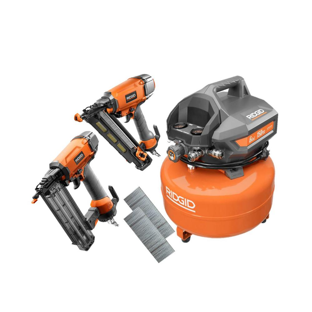 Ridgid 6 Gal. Electric Pancake Air Compressor with 18-Gau...