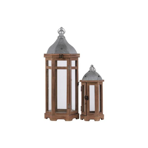 Urban Trends Collection Brown Candle Wooden Decorative Lantern 26132