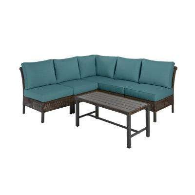 Harper Creek Brown 6-Piece Steel Outdoor Patio Sectional Sofa Seating Set w/ CushionGuard Charleston Blue-Green Cushions