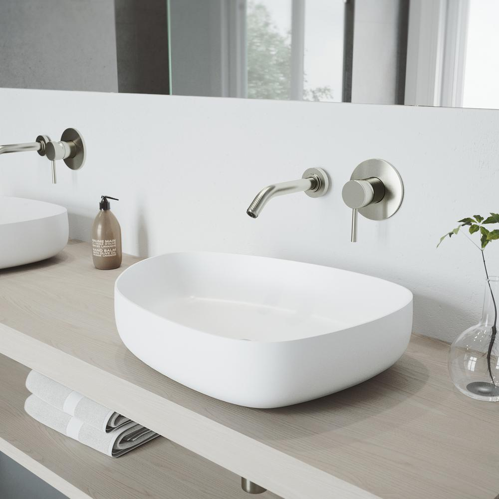 VIGO Peony Matte Stone Vessel Sink In White With Olus Wall Mount Faucet In  Brushed Nickel
