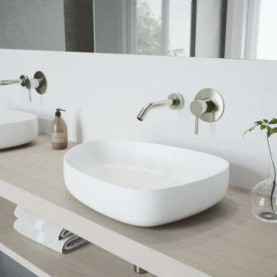 Peony Matte Stone Vessel Sink in White with Olus Wall Mount Faucet in Brushed Nickel