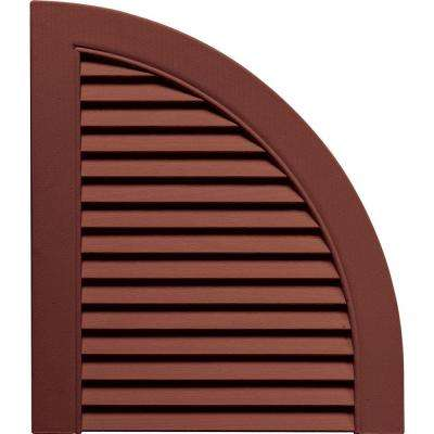 15 in. x 17 in. Louvered Design Burgundy Red Quarter Round Tops Pair #027