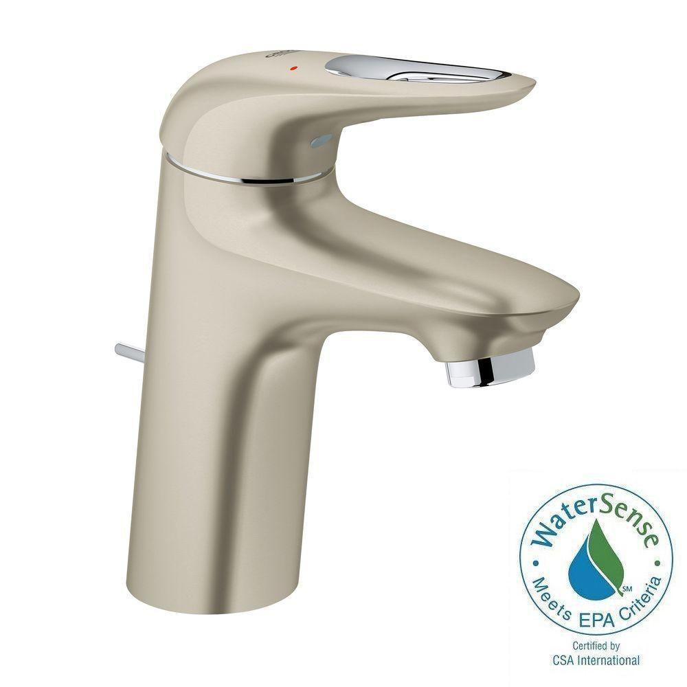 Eurostyle S-Size Single Hole Single-Handle Bathroom Faucet in Brushed Nickel InfinityFinish
