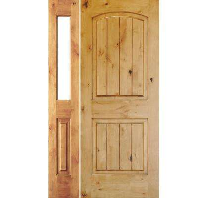 46 in. x 80 in. Rustic Unfinished Knotty Alder Arch Top VG Left-Hand Left Half Sidelite Clear Glass Prehung Front Door