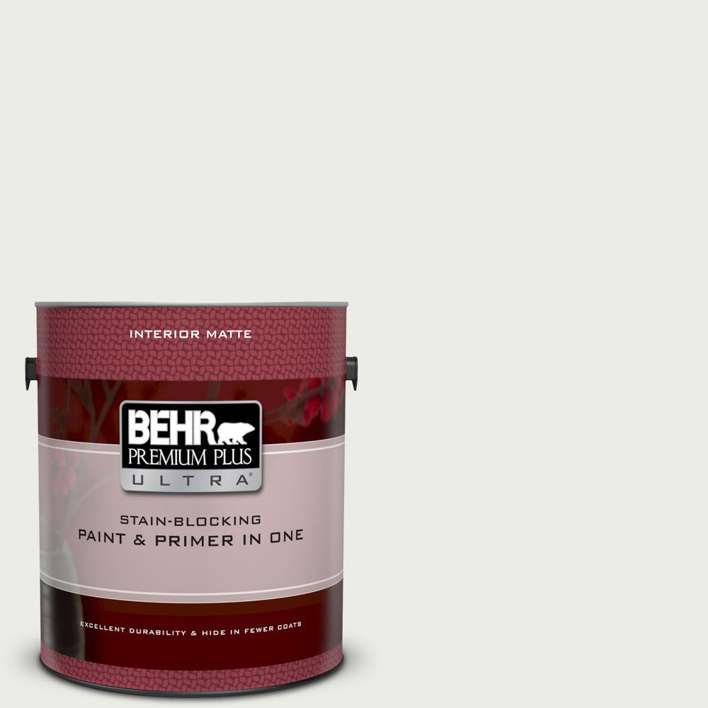 BEHR Premium Plus Ultra 1 gal. #52 White Matte Interior Paint and Primer in One