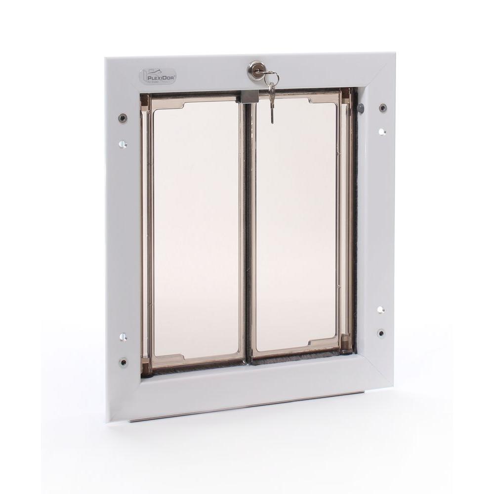 PlexiDor Performance Pet Doors 9 in. x 12 in. Wall Mount White Medium Dog Door