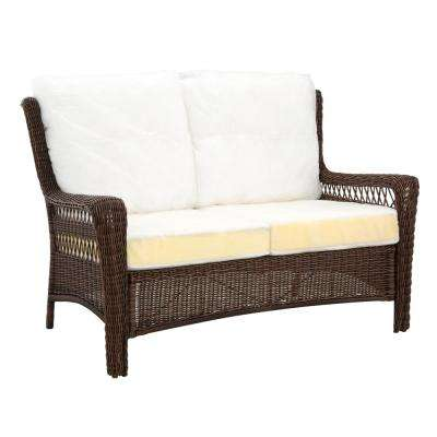 Park Meadows Brown Custom Wicker Outdoor Loveseat with Cushions Included, Choose Your Own Color