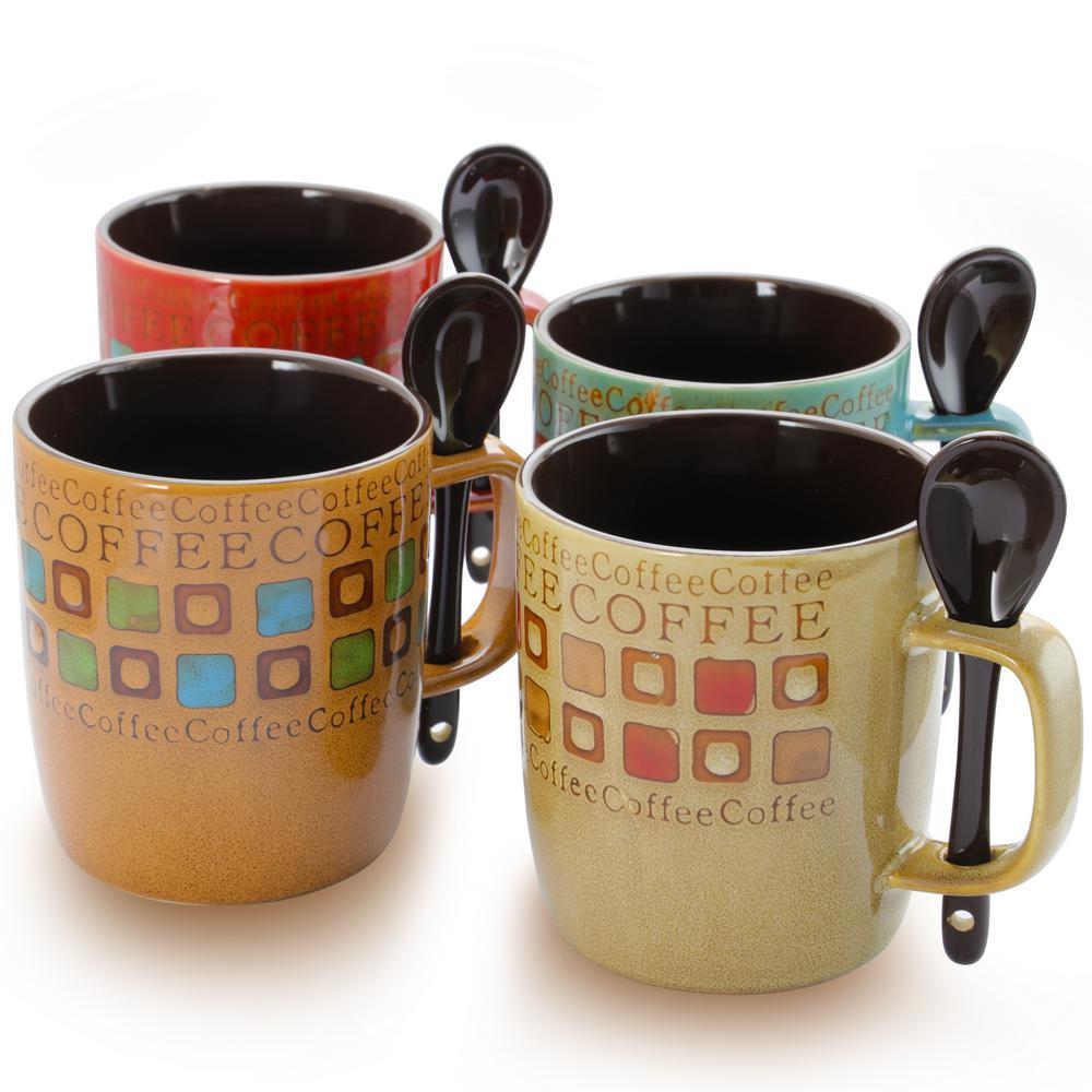 Cafe Americano 13 oz. Assorted Color Mugs (Set of 4)