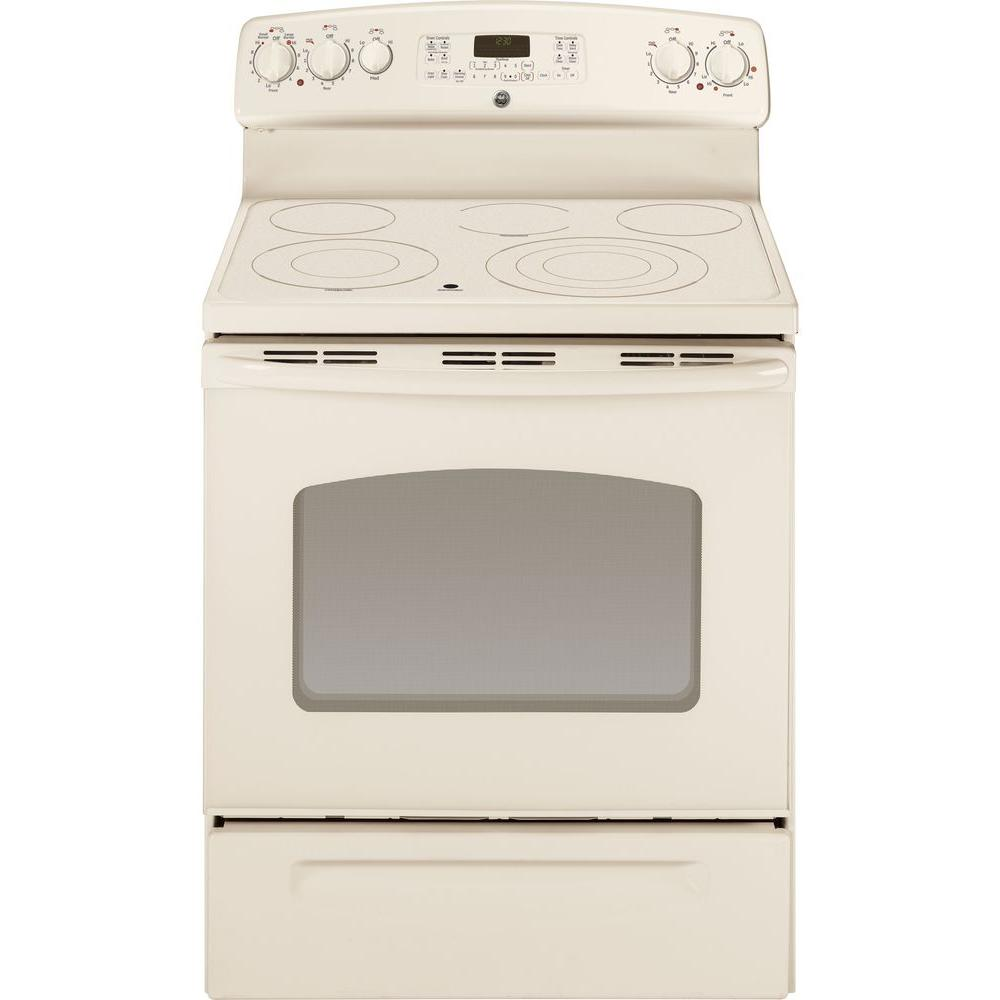 GE 5.3 cu. ft. Electric Range with Self-Cleaning Convection Oven in Bisque