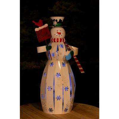 Metal Snowman Decor with LED Light