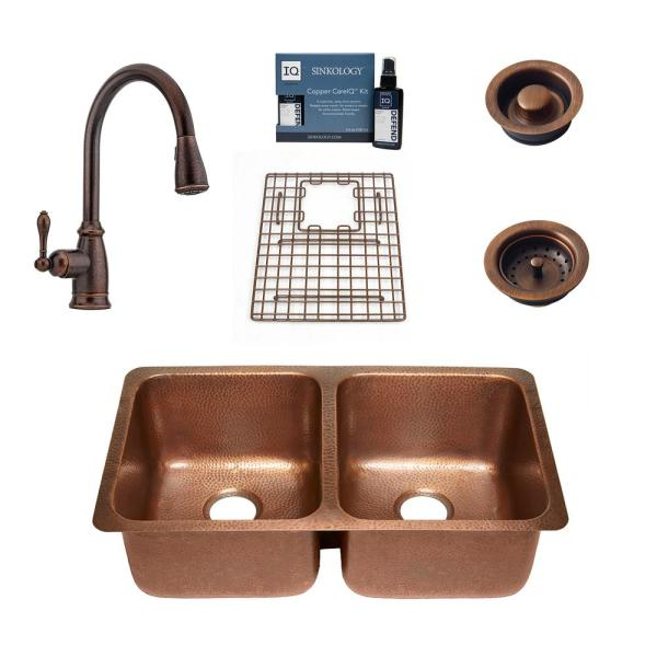 Rivera All-in-One Undermount Copper 32-1/4 in. 50/50 Double Bowl Kitchen Sink with Pfister Bronze Faucet and Drains