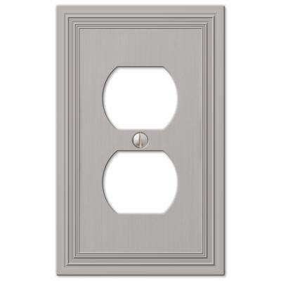 Hallcrest 1 Gang Duplex Metal Wall Plate - Satin Nickel