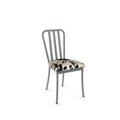 Club Grey Metal and Black and White Cowhide Dining Chair (Set of 2)