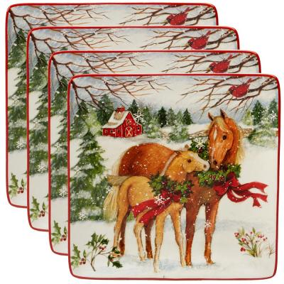 Christmas on the Farm by Susan Winget 10.5 in. Dinner Plate (Set of 4)