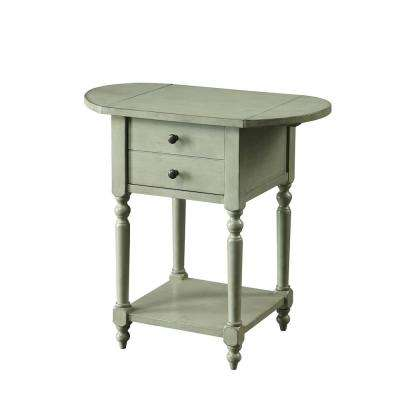 Beadle Side Table with Open Bottom Shelf, Double Drawer Front and Expandable Leaf Top in Antique Gray Finish