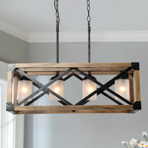Modern Farmhouse Chandelier 4-Light Rusty Hammered Black Farmhouse Rectangular Wood Chandelier with Frosted Glass Shades