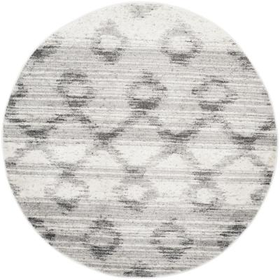 Adirondack Silver/Charcoal 4 ft. x 4 ft. Round Area Rug