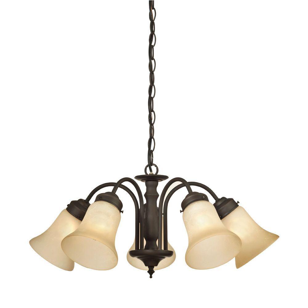trinity ii 5light oil rubbed bronze chandelier - Chandelier Home Depot