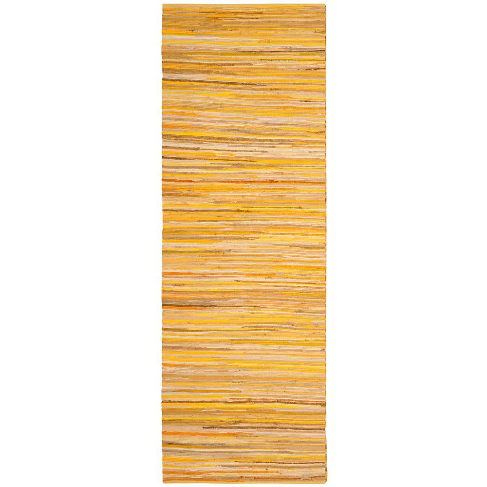 Rag Rug Yellow/Multi 2 ft. 3 in. x 5 ft. Runner Rug