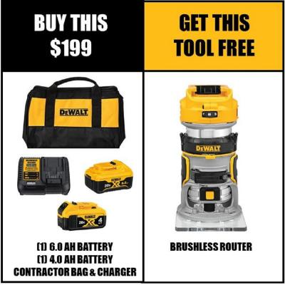 20-Volt MAX XR Starter Kit (1) 6.0Ah Battery & (1) 4.0Ah Battery with FREE 20-Volt Cordless Brushless Router