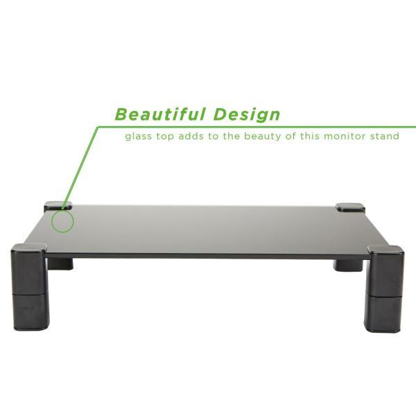 Mind Reader 4 Leg Glass Monitor Stand, Glass Monitor Stand