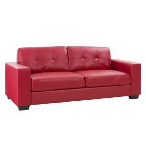 CorLiving Club 3-Piece Tufted Red Bonded Leather Sofa Set ...