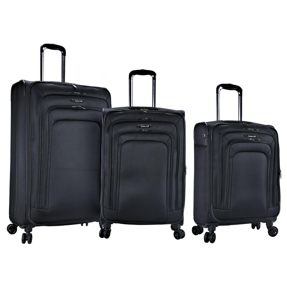 Elara 3-Piece Expandable Softside Vertical Rolling Luggage Set with 4 Dual-Blade