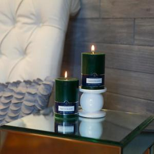 Colonial Candle Evergreen 3 inch x 4 inch Unscented Pillar Candles (Set of 2) by Colonial Candle