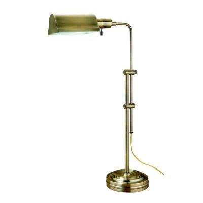 23.5 in. to 34.5 in. Antique Brass Adjustable Table Lamp
