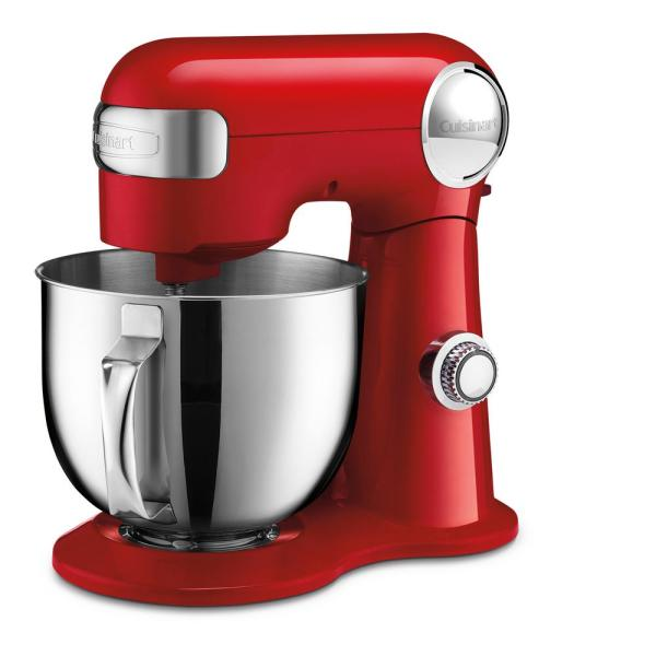 Cuisinart 5.5 Qt. 12-Speed Red Stand Mixer with Mixing Paddle, Whisk and Dough Hook Attachments