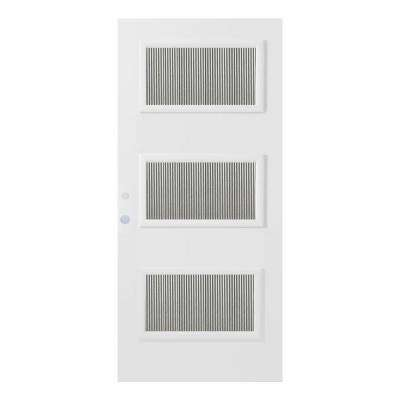 32 in. x 80 in. Dorothy Flutelite 3 Lite Painted White Steel Prehung Front Door