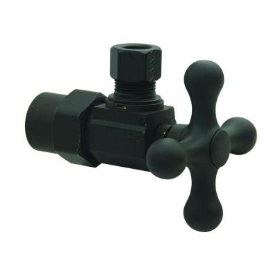 1/2 in. CPVC Inlet x 3/8 in. Comp Outlet 1/4-Turn Angle Valve with Cross Handle in Oil Rubbed Bronze