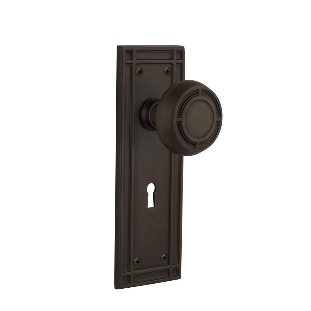 Mission Plate with Keyhole 2-3/8 in. Backset Oil-Rubbed Bronze Passage Mission Door Knob