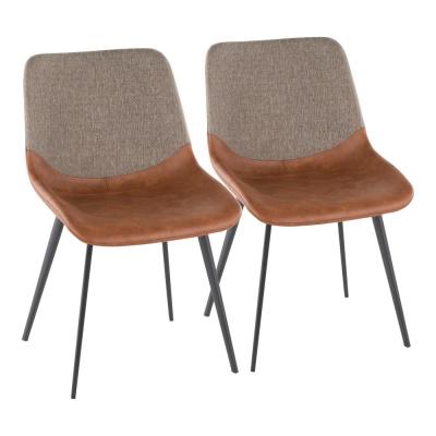 Outlaw Industrial 2-Tone Chair in Espresso Faux Leather and Brown Fabric (Set of 2)
