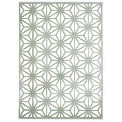 Ultima Ivory/Aqua 3 ft. 6 in. x 5 ft. 6 in. Area Rug