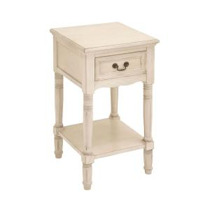 Antique Ivory Wood Accent Table by