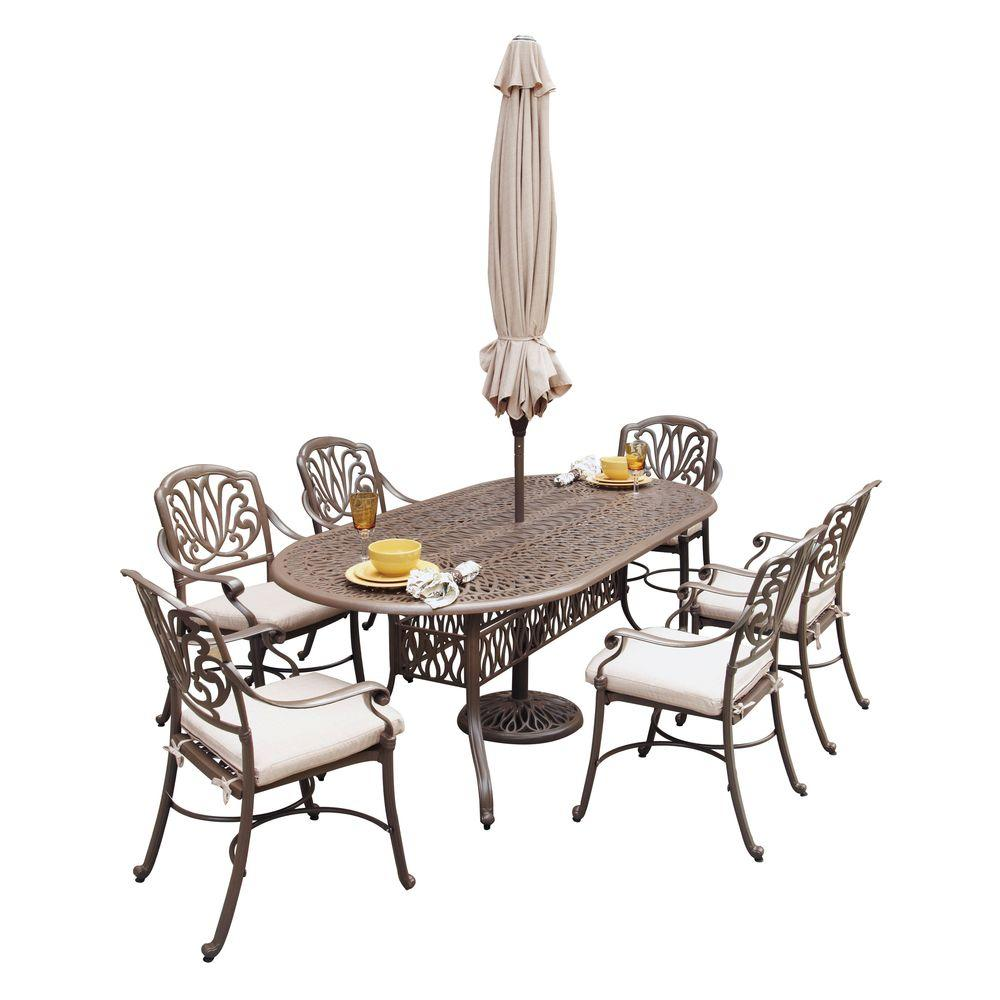 Floral Blossom Taupe 7-Piece Patio Dining Set with Beige Cushions and