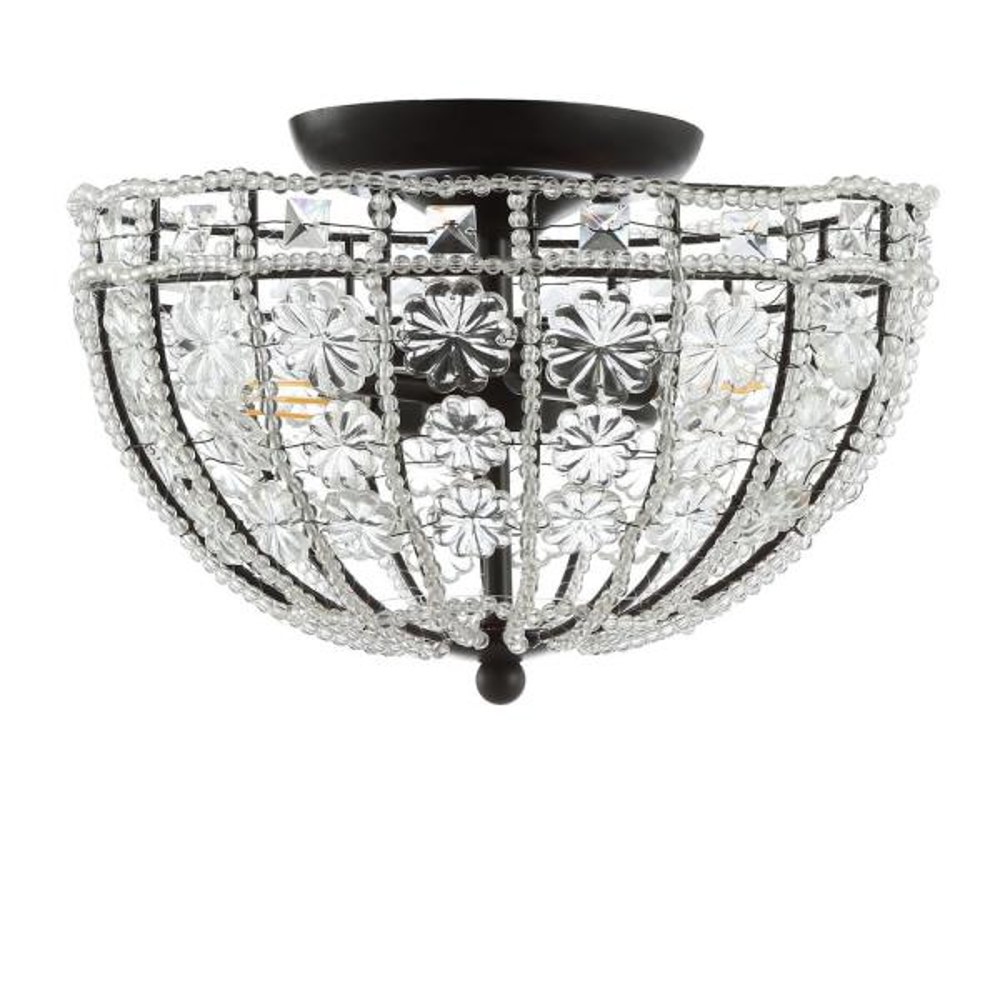 Billie 12 in. Black Crystal Flower Metal/Acrylic LED Semi-Flush Mount