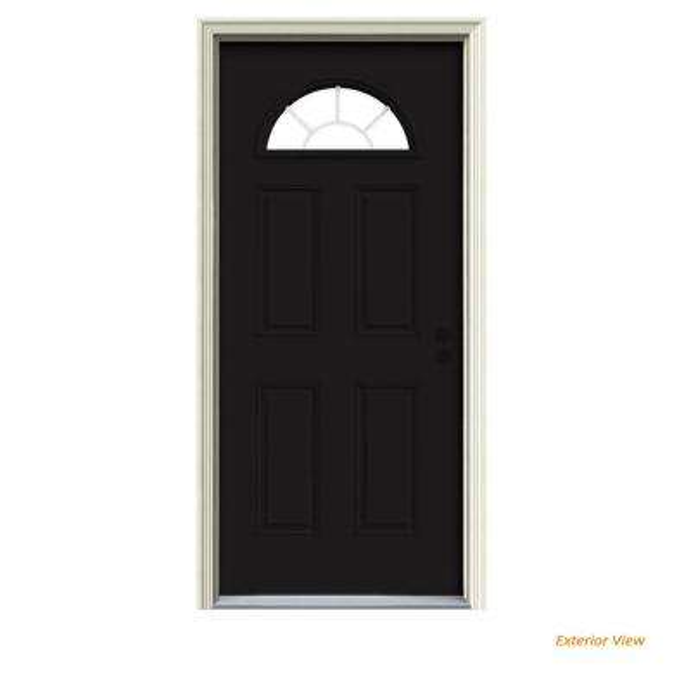 36 in. x 80 in. Fan Lite Black Painted Steel Prehung Left-Hand Inswing Front Door w/Brickmould